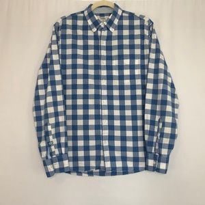 Bonobos Blue & White Checker Button Down Shirt Med